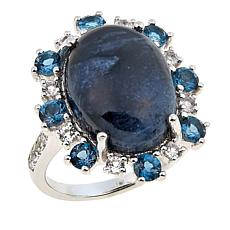 Sterling Silver Pietersite, London Blue Topaz and White Topaz Ring