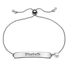 Sterling Silver Simulated Pearl Adjustable Name Plaque Bracelet