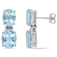 Sterling Silver Sky Blue Topaz Dangle Earrings