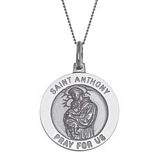 Sterling Silver St. Anthony Large Round Pendant with Chain