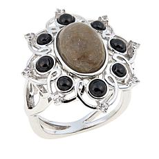 Sterling Silver Stingray Coral and Gemstone Floral Ring