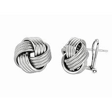 Sterling Silver Textured Love Knot Stud Earrings