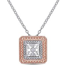 Sterling Silver Two-Tone Diamond Accent Square Station Necklace