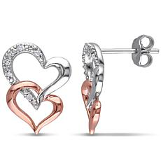 Sterling Silver Two-Tone Interlocking Heart Stud Earrings