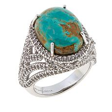 Sterling Silver White Topaz and Oval Tyrone Turquoise Ring