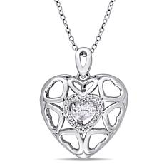 Sterling Silver White Topaz Heart Locket Pendant with Chain