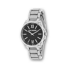 Steve Madden Black Textured Dial  Silvertone Watch