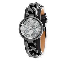 Steve Madden Gunmetaltone Curb-Link Black Leather Strap Watch