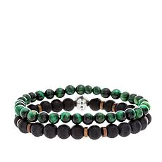 Steve Madden Malachite, Onyx & Wood Bead Bracelet Set