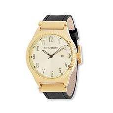 Steve Madden Men's Goldtone Dial  Black Leather Watch