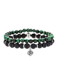 "Steve Madden Men's ""Om"" Charm Bead Stretch Bracelet 2-piece Set"