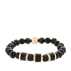 Steve Madden Men's Rosetone Lava and Glass Bead Stretch Bracelet