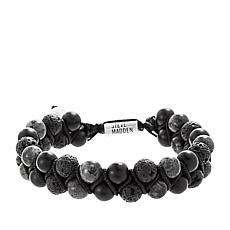 Steve Madden Men's Silvertone Lava and Glass Bead Cord Bracelet