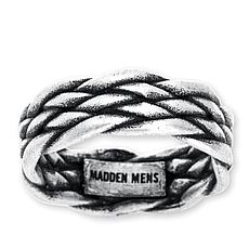Steve Madden Men's Woven Stainless Steel Band Ring