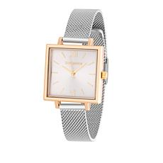 Steve Madden Women's 2-tone Square Dial Mesh Band Watch