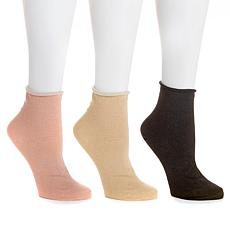Steven by Steve Madden Roll Top Anklet 3-pack Socks