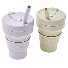 Stojo 2-pack 16 oz. Collapsible and Reusable Cup with Straw