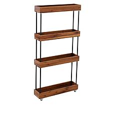 StoreSmith 4 Tier Acacia Wood Slim Shelf with Wheels