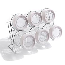 StoreSmith Glass Jar 6-pack with Magnified Lid and Rack