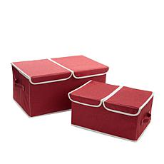 StoreSmith Set of 2 Collapsible Compartment Bins