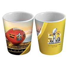 Super Bowl 50 Set of 2 Ceramic White Shot Glasses/2 oz.