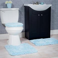 Super Plush 3-piece Non-Slip Bath Mat Rug Set - Blue
