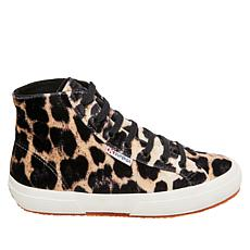 Superga Leopard-Print Velvet High-Top Sneaker