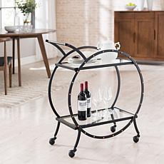 Susanna Art Deco Round Bar Cart - Black