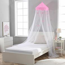 Sweetheart Round Collapsible Pink Heart Hoop Sheer Mosquito Bed Canopy