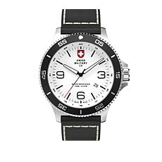 """Swiss Military by Charmex Men's """"Infantry"""" Black Leather Strap Watch"""