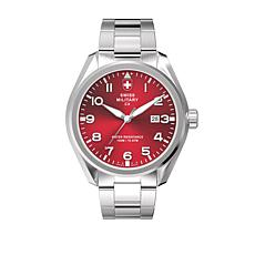 "Swiss Military by Charmex Men's ""Pilot"" Red Dial Bracelet Watch"