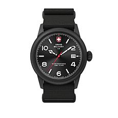 "Swiss Military by Charmex Men's ""Vintage"" Black Nylon Strap Watch"