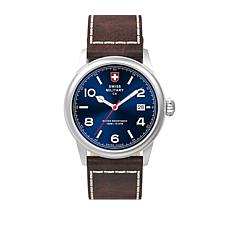 "Swiss Military by Charmex ""Vintage"" Blue Dial Brown Leather Watch"