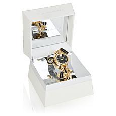 Tahari Goldtone and Black Women's Charm Bracelet Watch