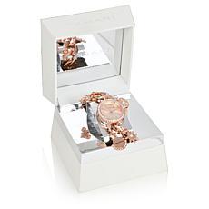 Tahari Rosetone Women's Crystal-Accented Charm Bracelet Watch
