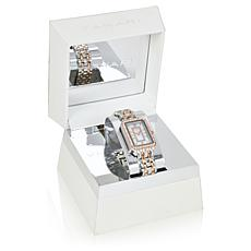 Tahari Two-Tone Women's Rectangle Dial Crystal-Accented Bracelet Watch