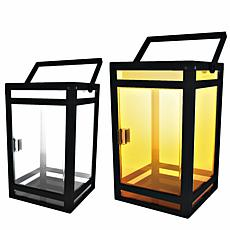Techko Solar Portable Lantern Clear Panel Amber or White Light 2-Pack
