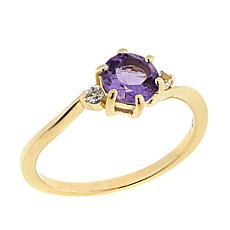 Technibond® 0.85ctw Round Amethyst and White Topaz Ring