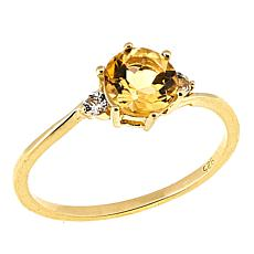 Technibond® 0.85ctw Round Citrine and White Topaz Ring