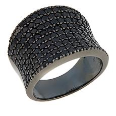 Technibond® 2.38ctw Pavé Black Spinel Saddle Ring