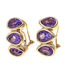 Technibond® 5.58ctw Amethyst 3-Stone Earrings