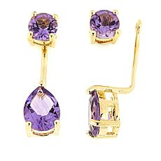 Technibond® Amethyst Stud Earrings with Removable Ear Jackets