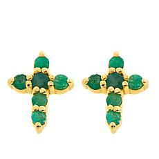 Technibond® Emerald Small Cross Stud Earrings