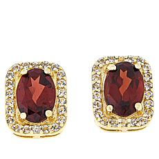 Technibond® Garnet and White Topaz Halo Stud Earrings