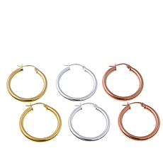 Technibond® Set of 3 Hoop Earrings