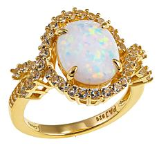 Technibond® Simulated Opal and White Topaz Ring