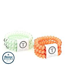 Teleties Set of 6 Large Hair Ties - Melon and Mint