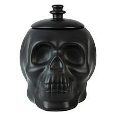 Ten Strawberry Street Matte Black Ceramic Skull Cookie Jar