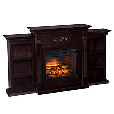 Tennyson Electric Fireplace with Bookcases - Espresso