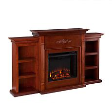 Tennyson Electric Fireplace with Bookcases - Mahogany